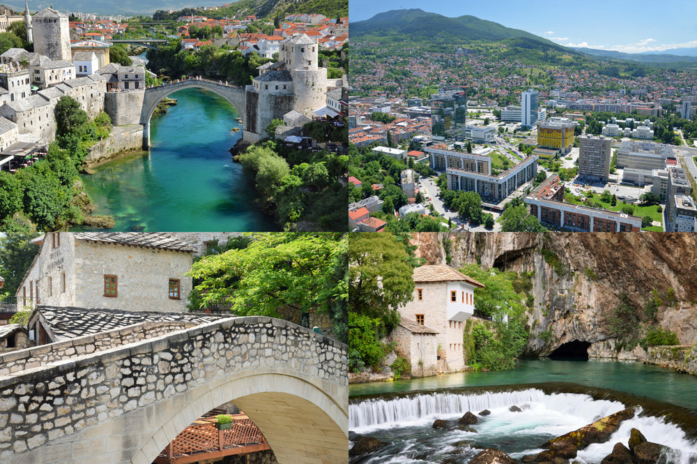 From top left: Mostar Bridge, Modern Sarajevo, Mostar Old Town and Dervish House in Blagaj