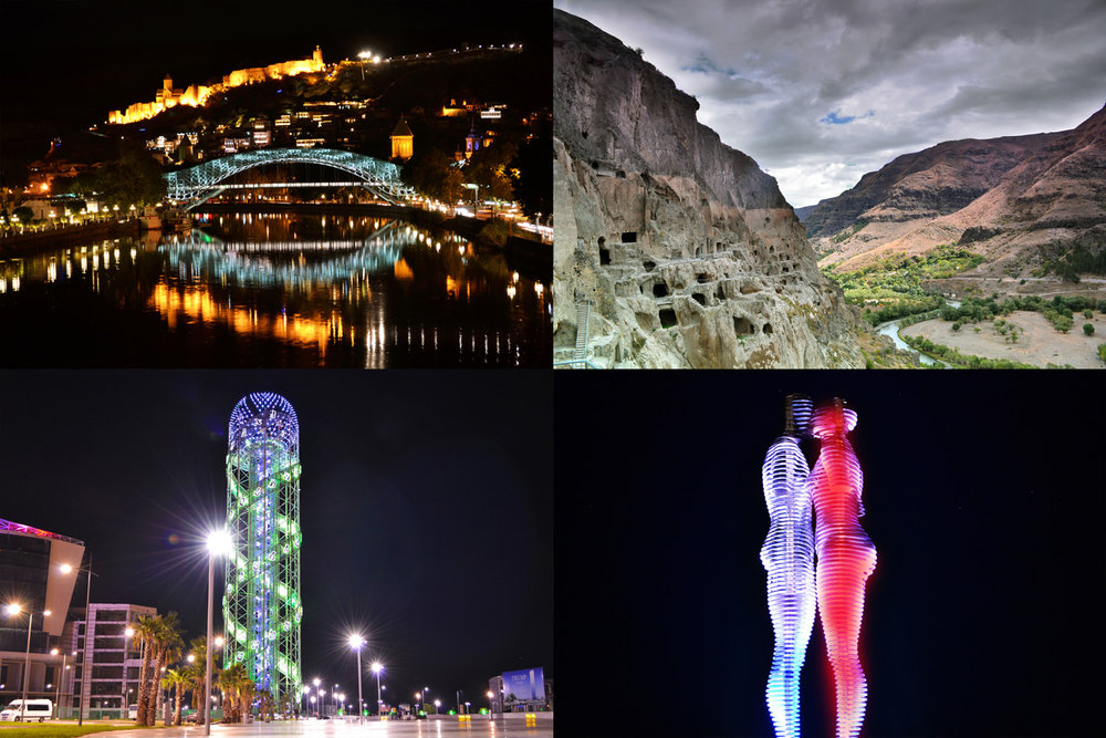 From top left: Tbilisi Old Town, Vardzia Cave Monastery, Georgian Alphabet Tower and The Moving Monument of Love in Batumi