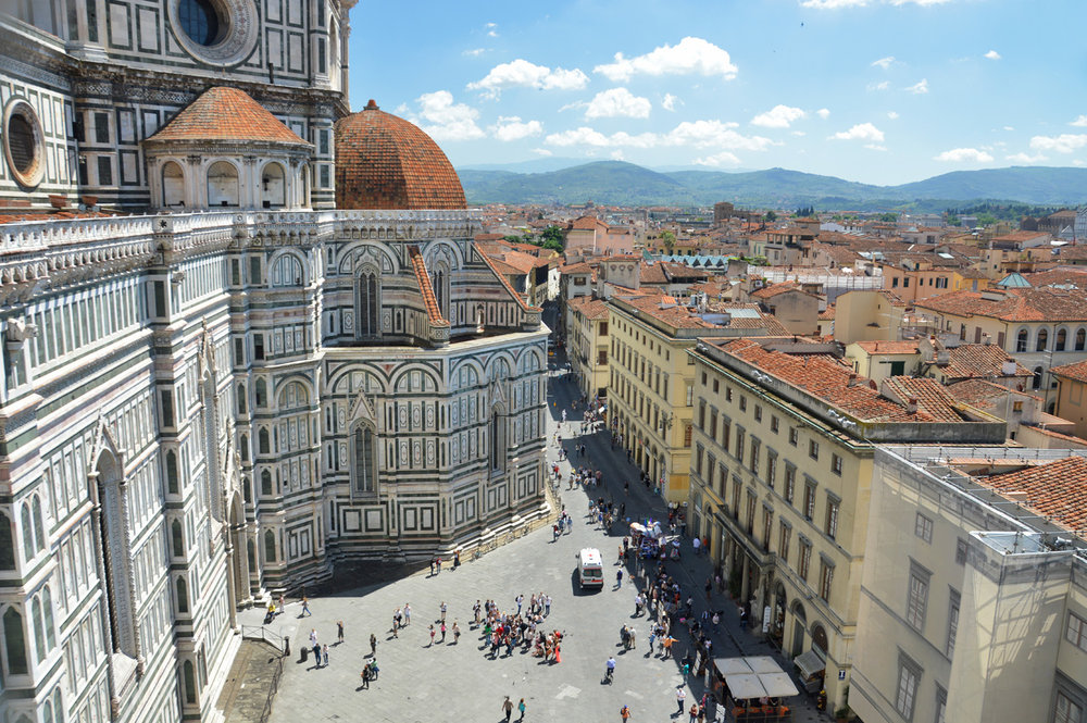 The Cathedral and Piazza Duomo - view from the Bell Tower