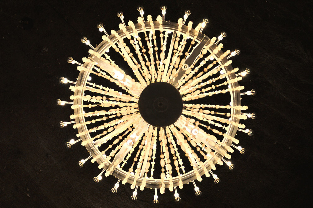 Chandelier made of salt crystals