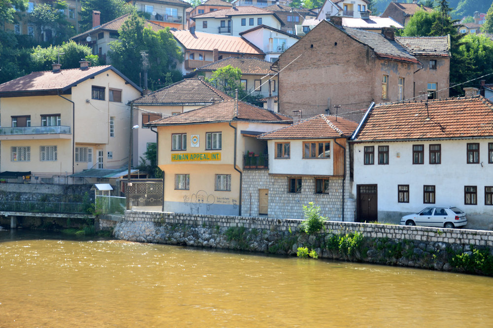 Ordinary houses along the Miljacka River