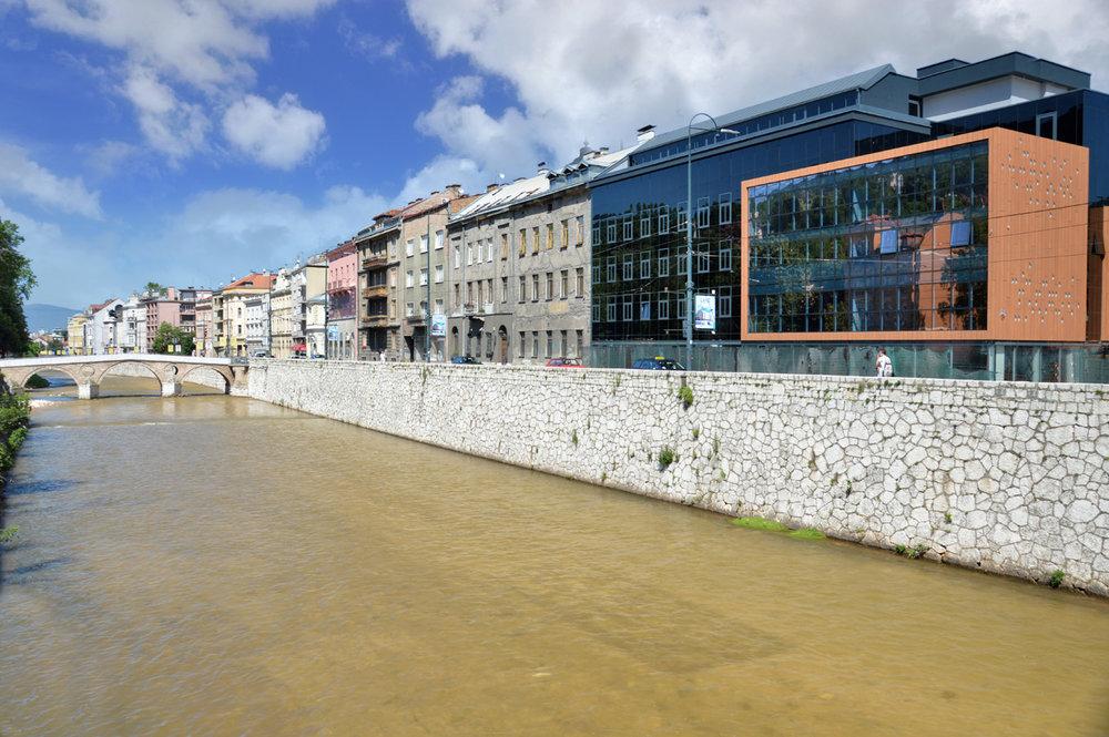 Buildings along the Miljacka River