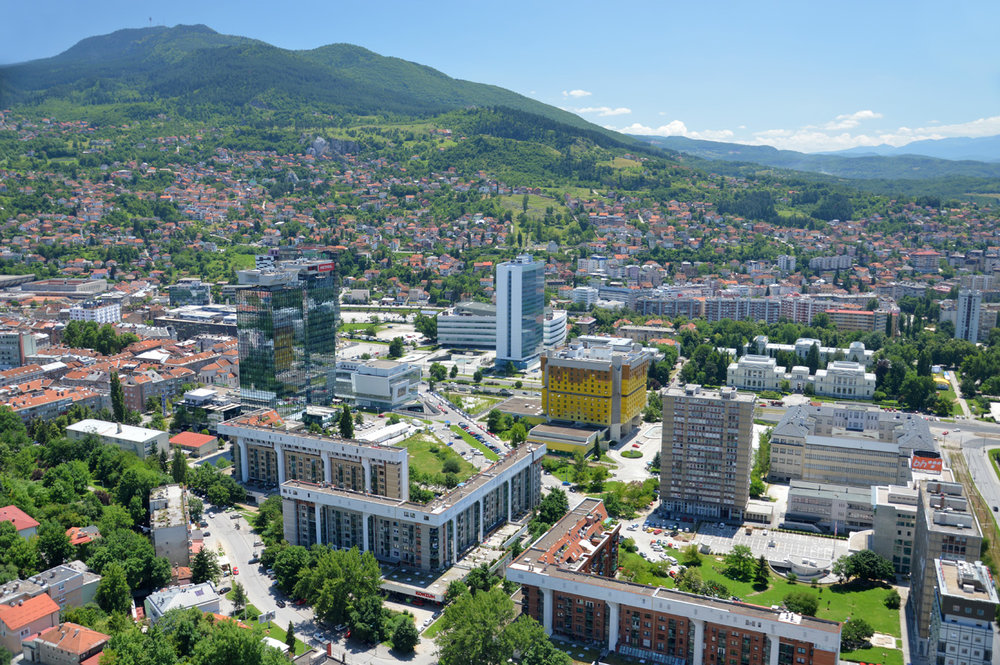 Sarajevo business district - twin towers on the left - view from the Avaz Tower