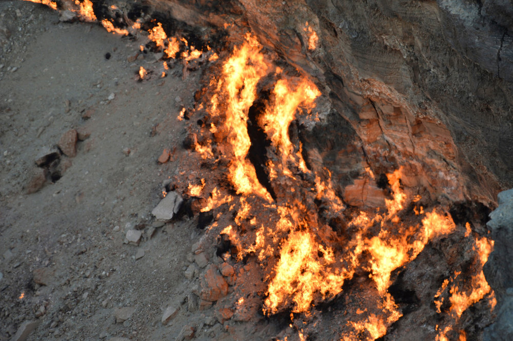 Flames devouring the rocks