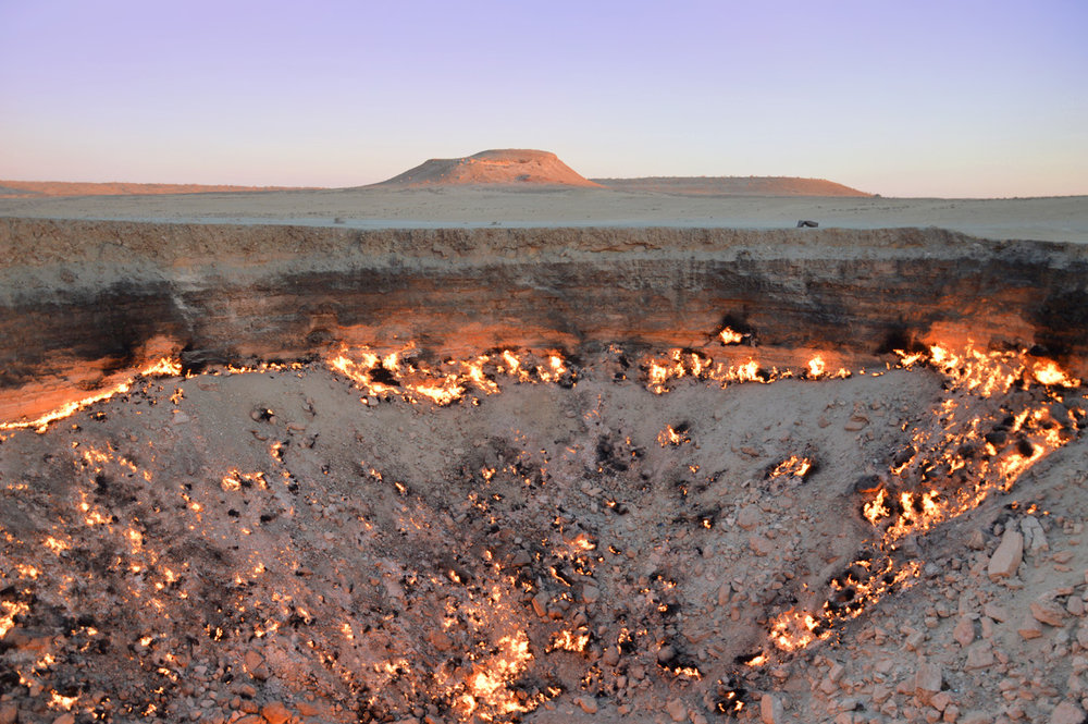 The crater and Karakum Desert