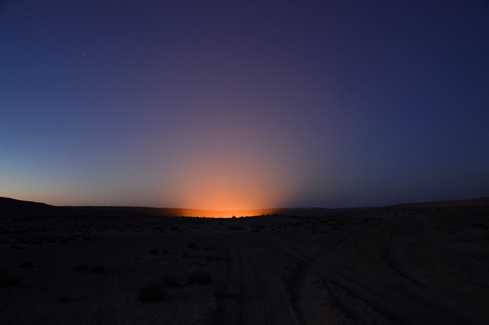 The light from the crater after sunset