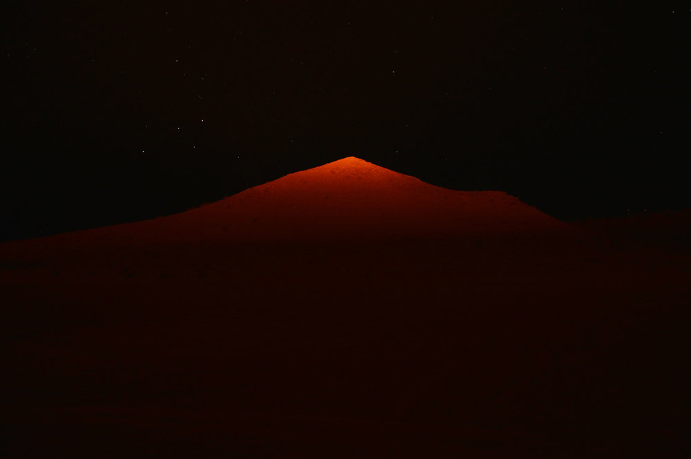 Dunes illuminated by the crater