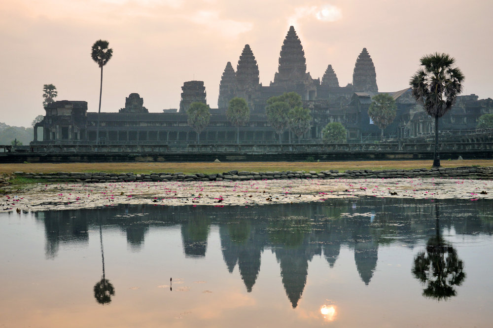 This is the photo of the sunrise at Angkor Wat...