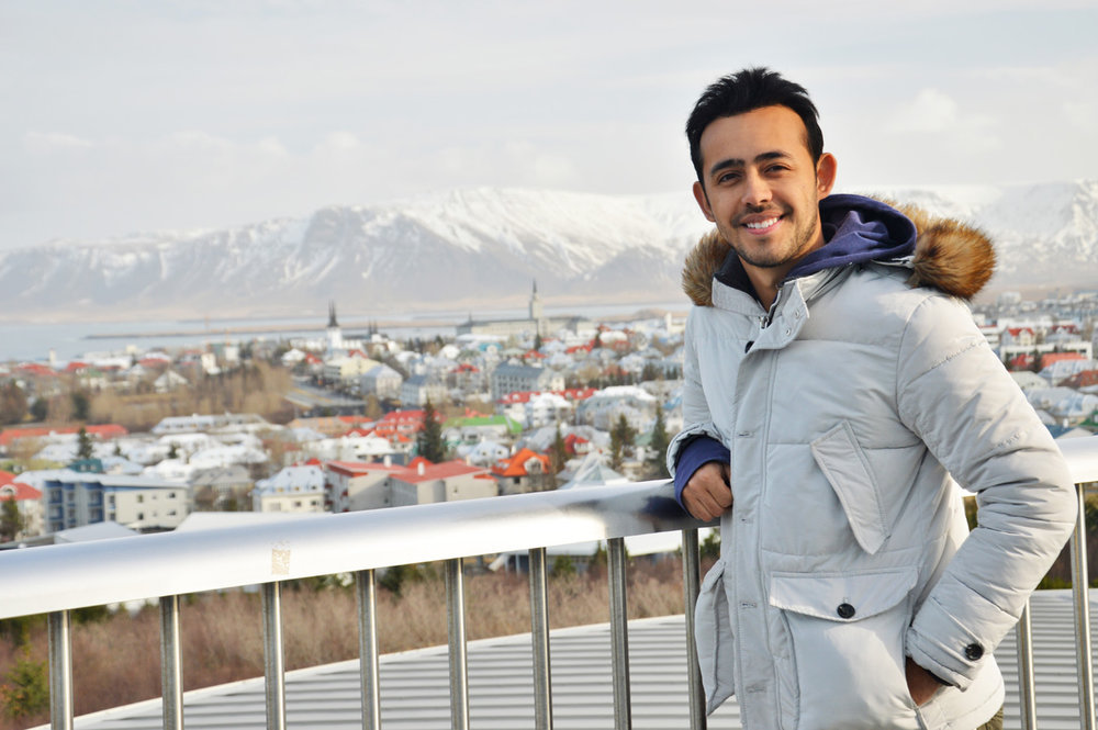 With the view of Reykjavik