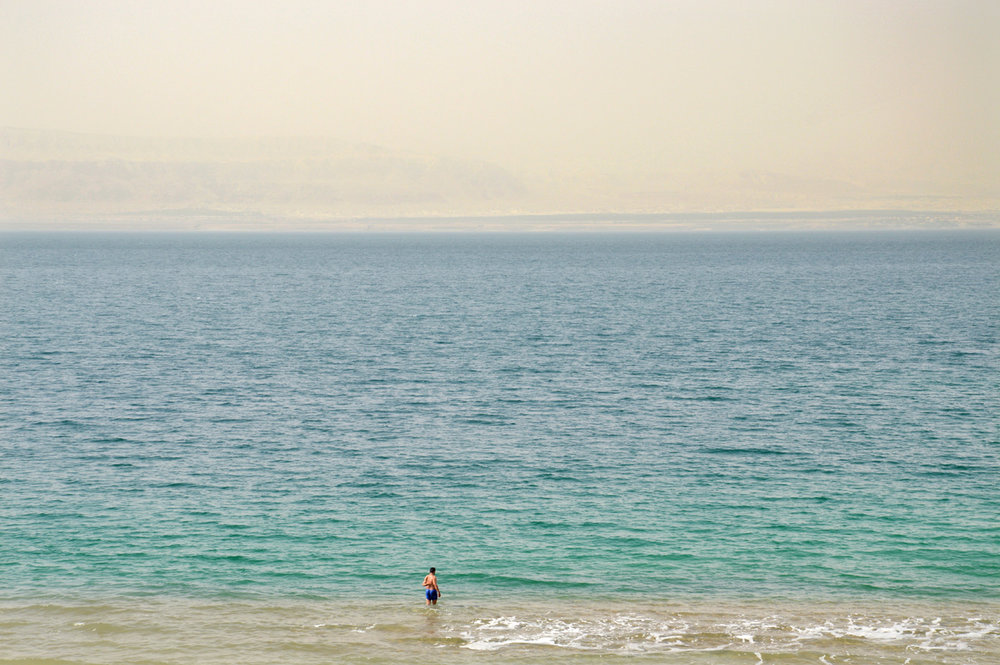 Dead Sea - barely visible Israel on the other side