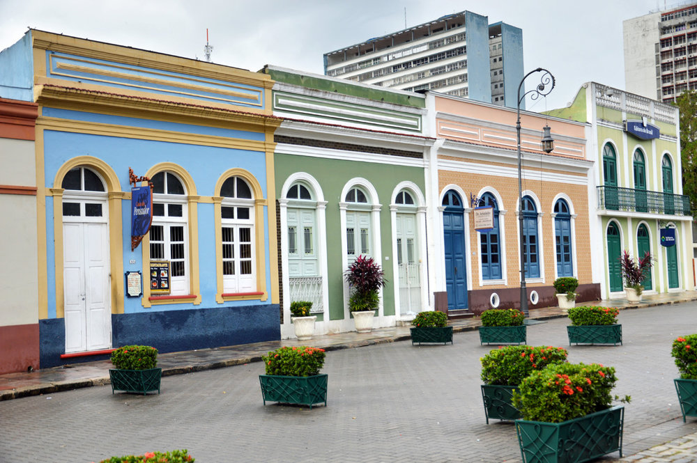 Colorful buildings at the square