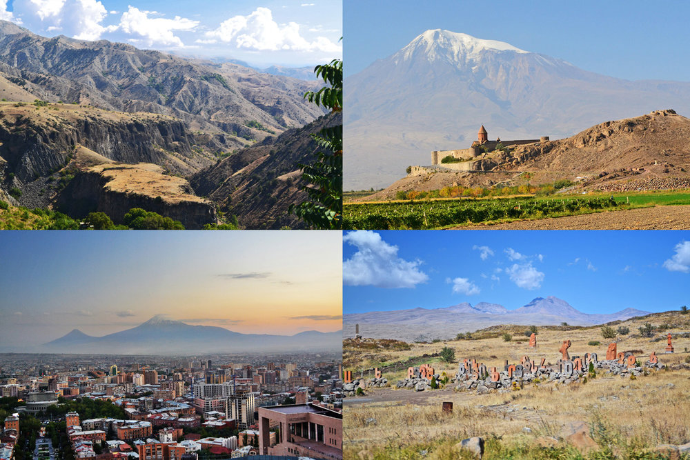 From top left: Canyons at Garni, Khor Virap, Mount Ararat seen from Yerevan, Armenian countryside