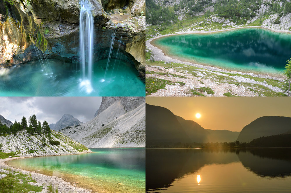 From top left: Soca River, photo 2 and 3: Triglav Lakes Valley, photo 4: sunset at Bohinj lake