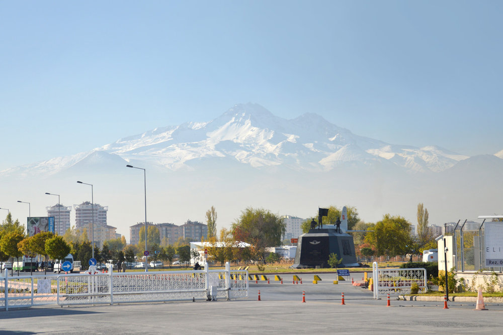 Mount Erciyes, view from Kayseri Airport