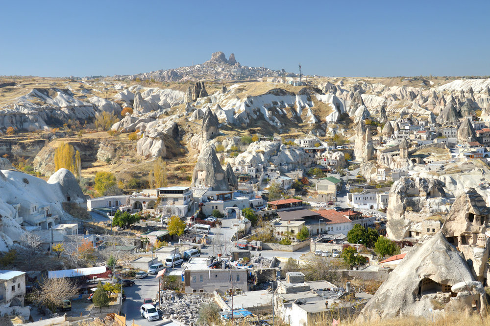 Goreme, the town of Uchisar in the background