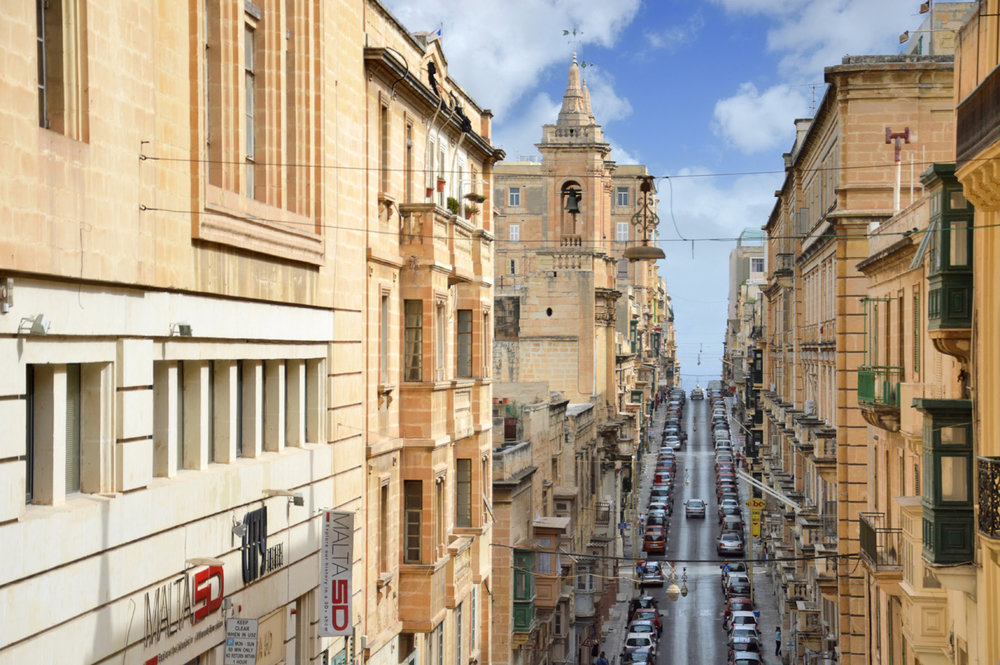 Wide streets of Valletta