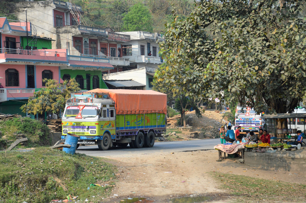 Colorful trucks - typical of India and Nepal, on the way to Pokhara