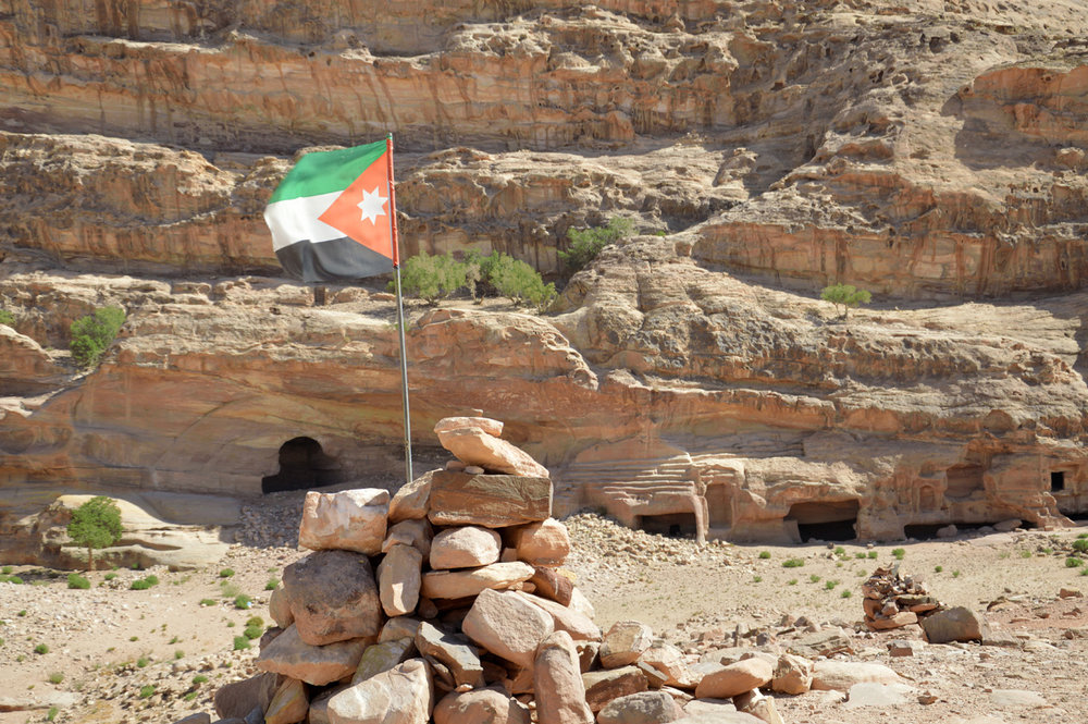 Jordanian flag in front of the Monastery