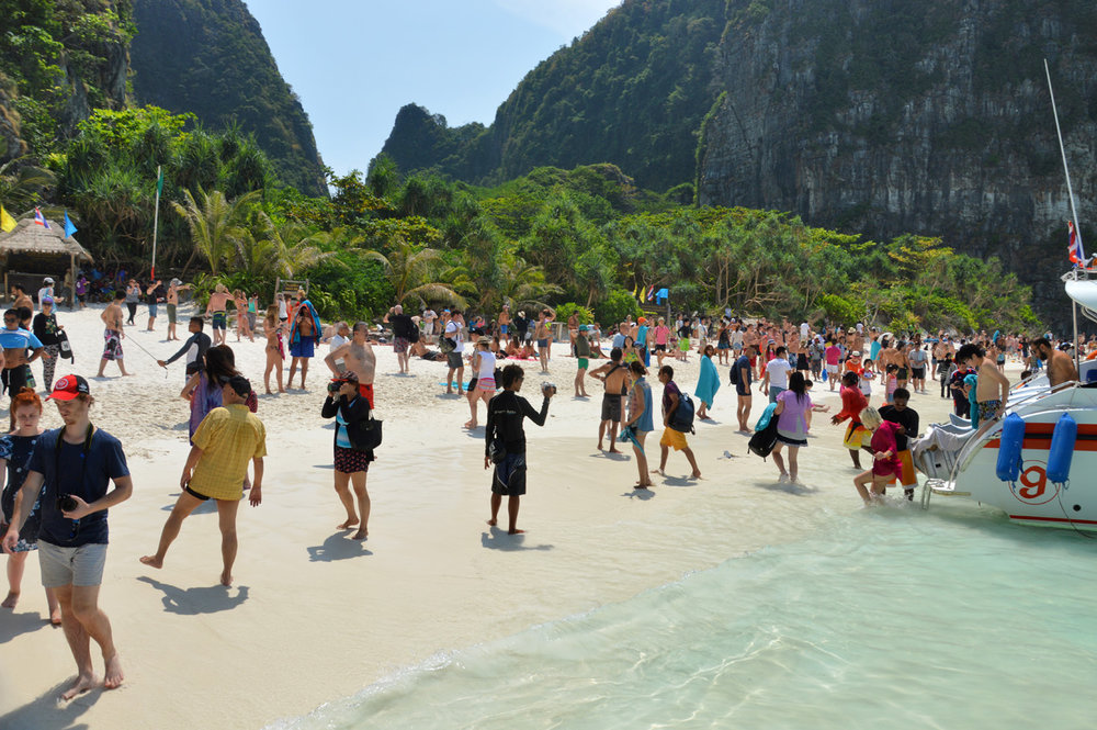 Overcrowded beach at Maya Bay