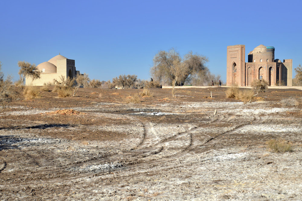 Distant view of Turabek Khanum Mausoleum