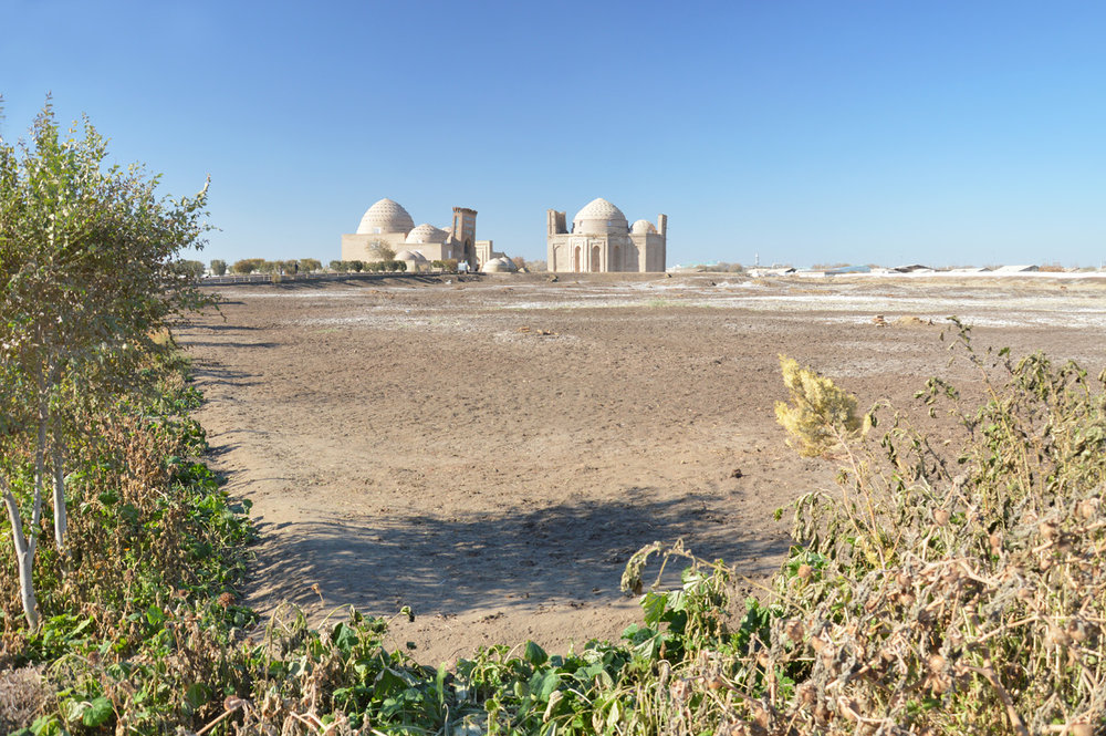 The distant view of Najm ad-Din al Kubra and Sultan Ali Mausoleums
