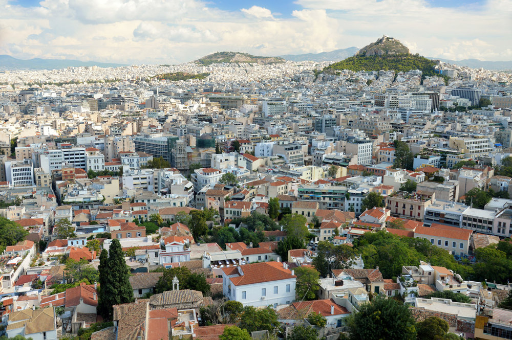 Modern Athens seen from Acropolis - Lycabettus Hill on the right ( click here for more info )