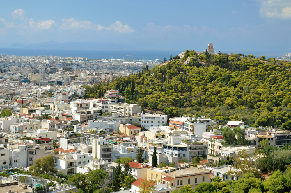 Philopappos hill seen from Acropolis