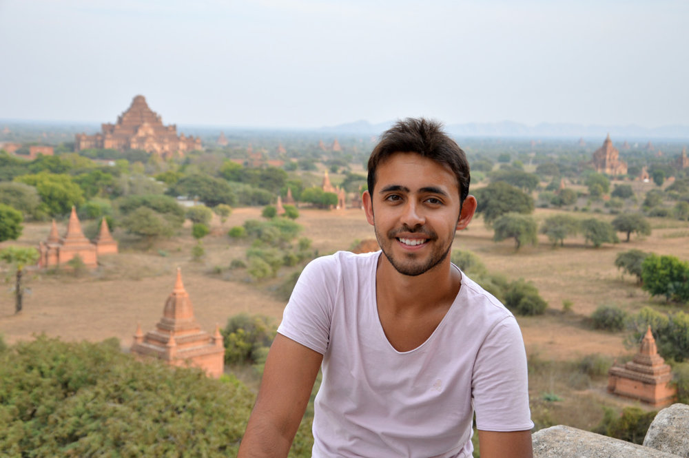 With the view over Bagan