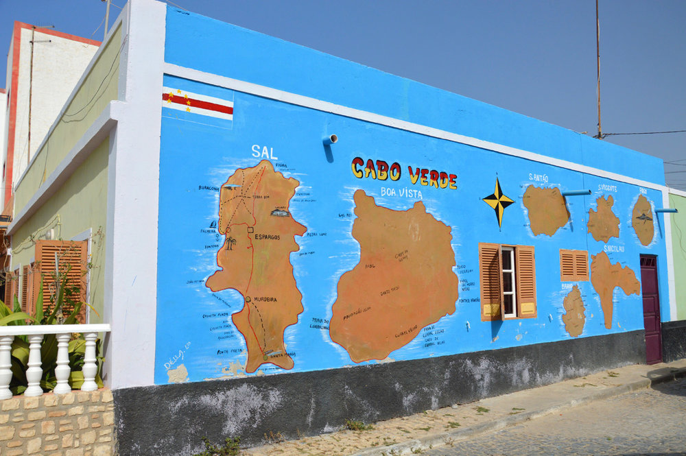 Map of Cape Verde on a building in Espargos
