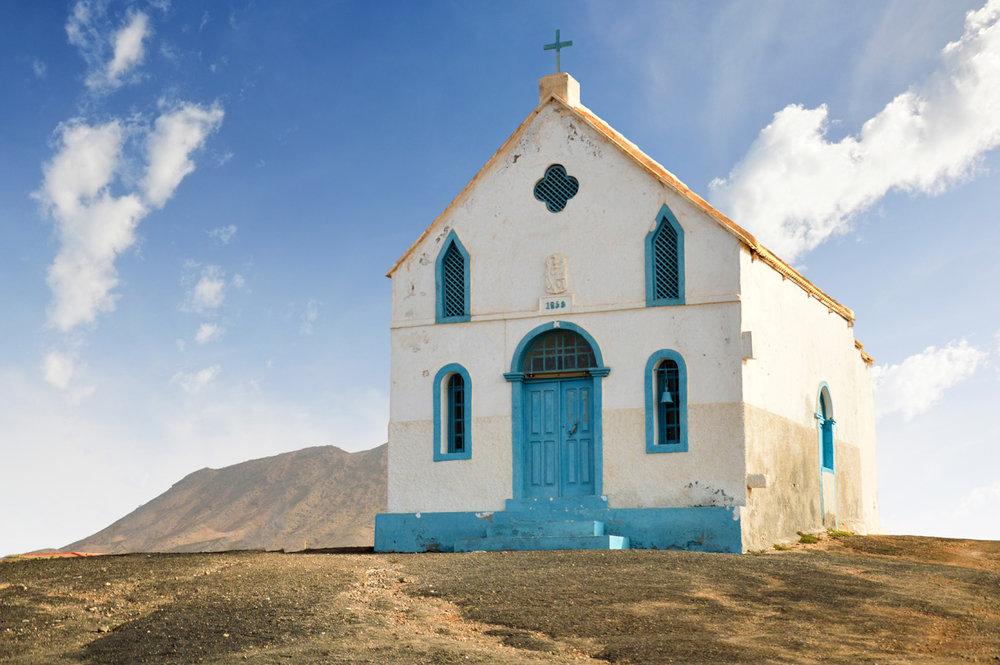Lonely church at Salinas de Pedra de Lume