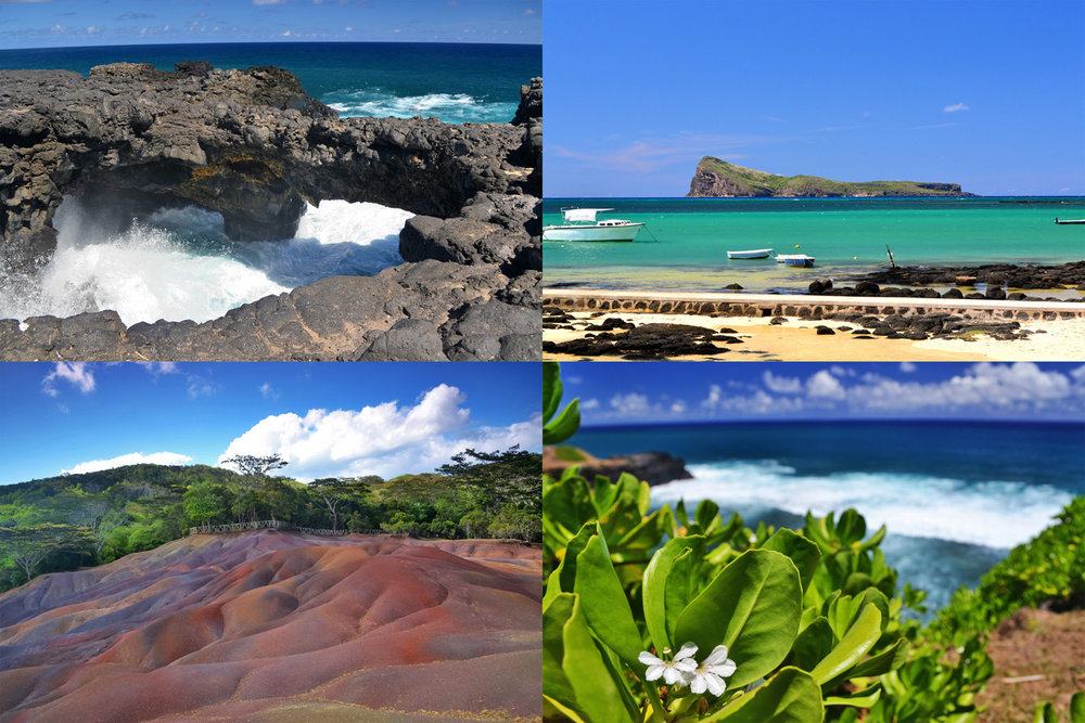 From top left: Pont Naturel - natural bridge, Cap Malheureux beach, Seven Colored Earth and Gris Gris