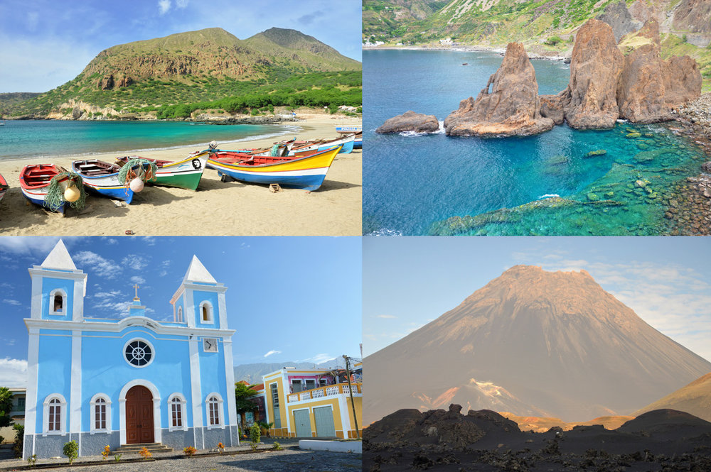 From top left: Tarrafal Beach in Santiago, cliffs at Faja de Agua in Brava, a church in Sao Filipe in Fogo and the volcano Pico do Fogo