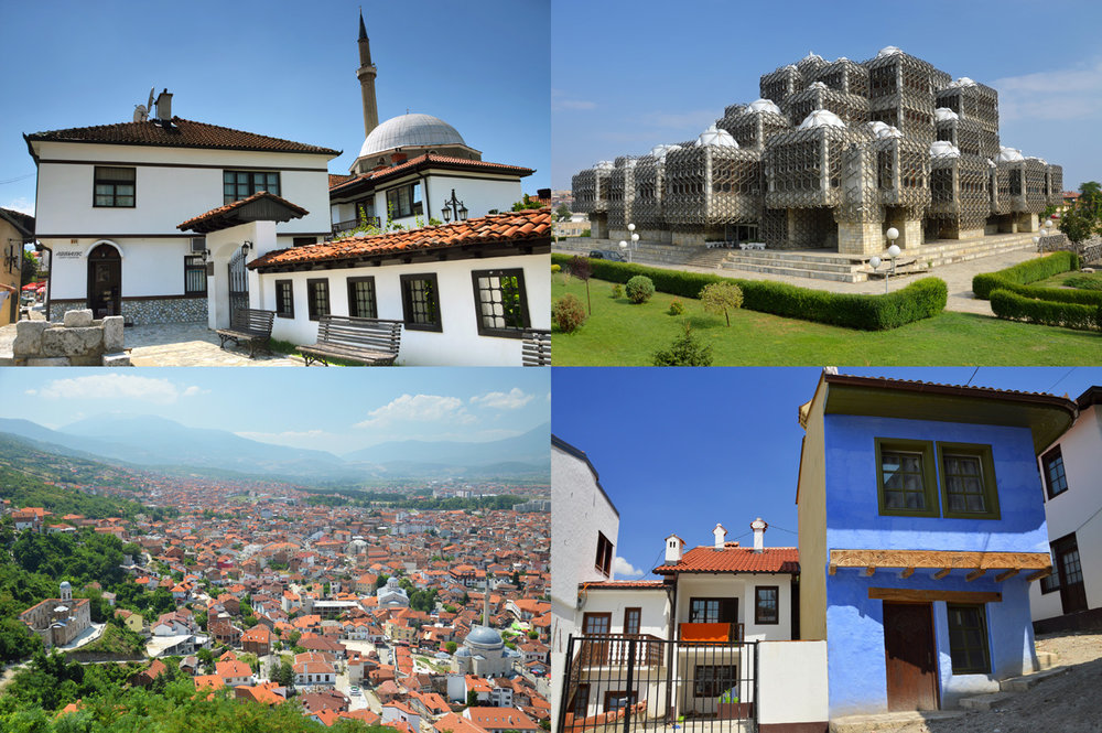 From top left: Albanian League of Prizren Museum, National Library in Prishtina, the view of red roofs and the architecture of Prizren