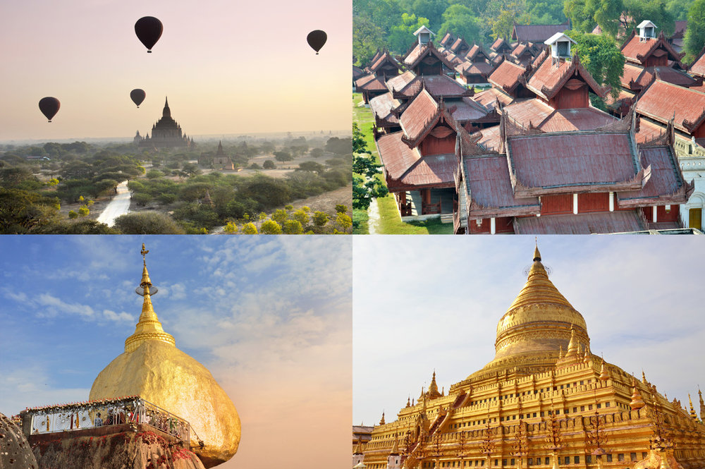 From top left: Balloons over Bagan, Royal Palace in Mandalay, Golden Rock Temple, Shwezigon Temple in Bagan