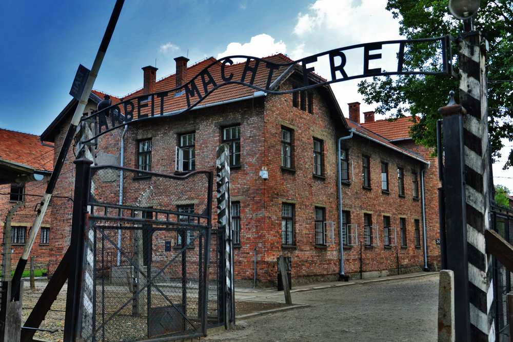 The main gate to Auschwitz