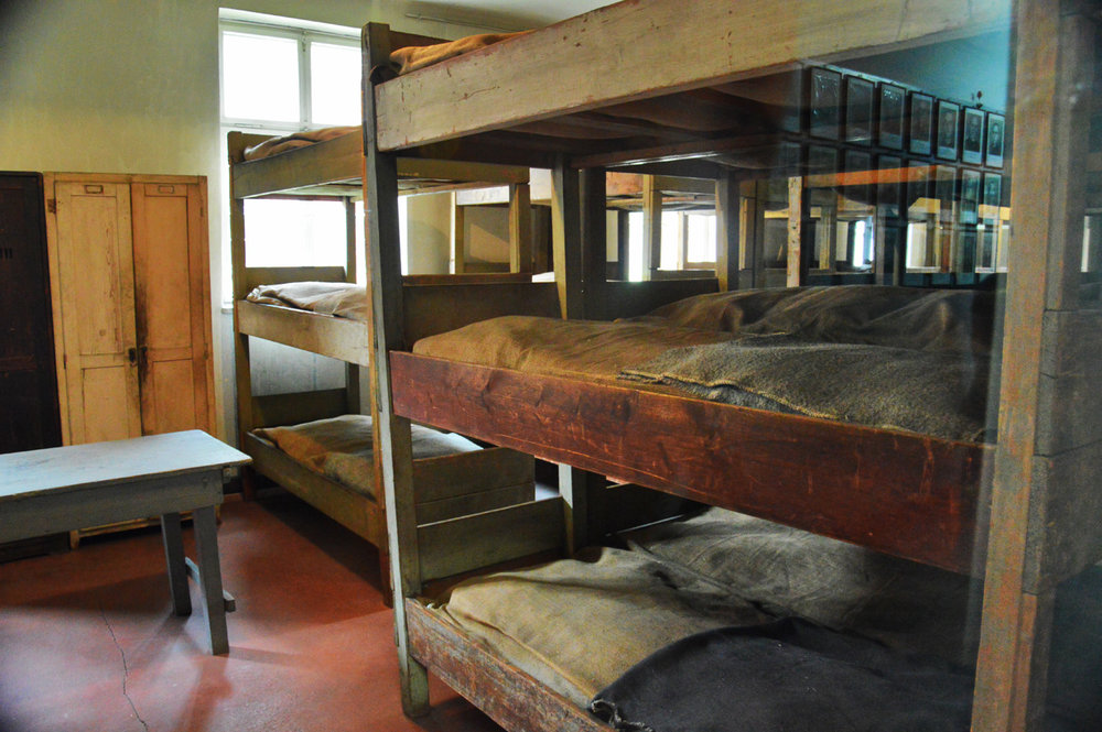 Bunk beds in Auschwitz I
