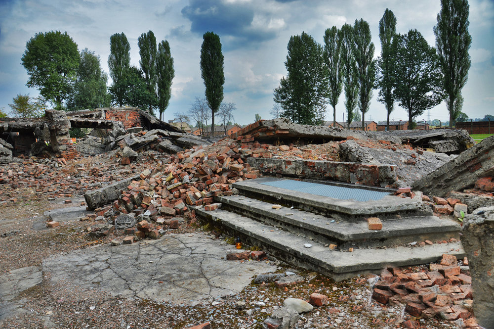 Destroyed by the Nazis gas chamber and crematorium at Birkenau