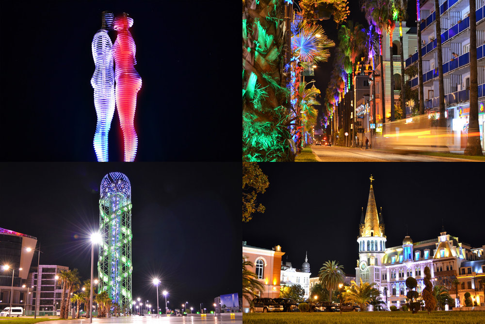 Batumi at night: Moving statue of love, colorful palm trees, Georgian Alphabet Tower and old town