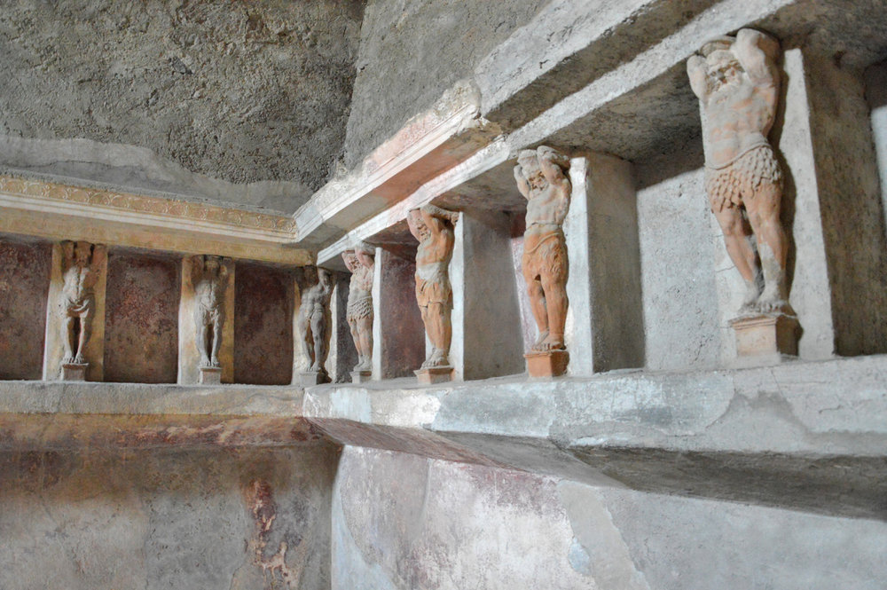 Statues in the baths