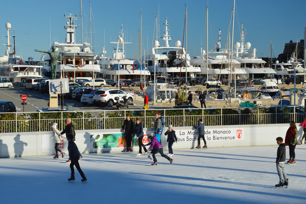 Ice skating in Monaco - not a usual sight
