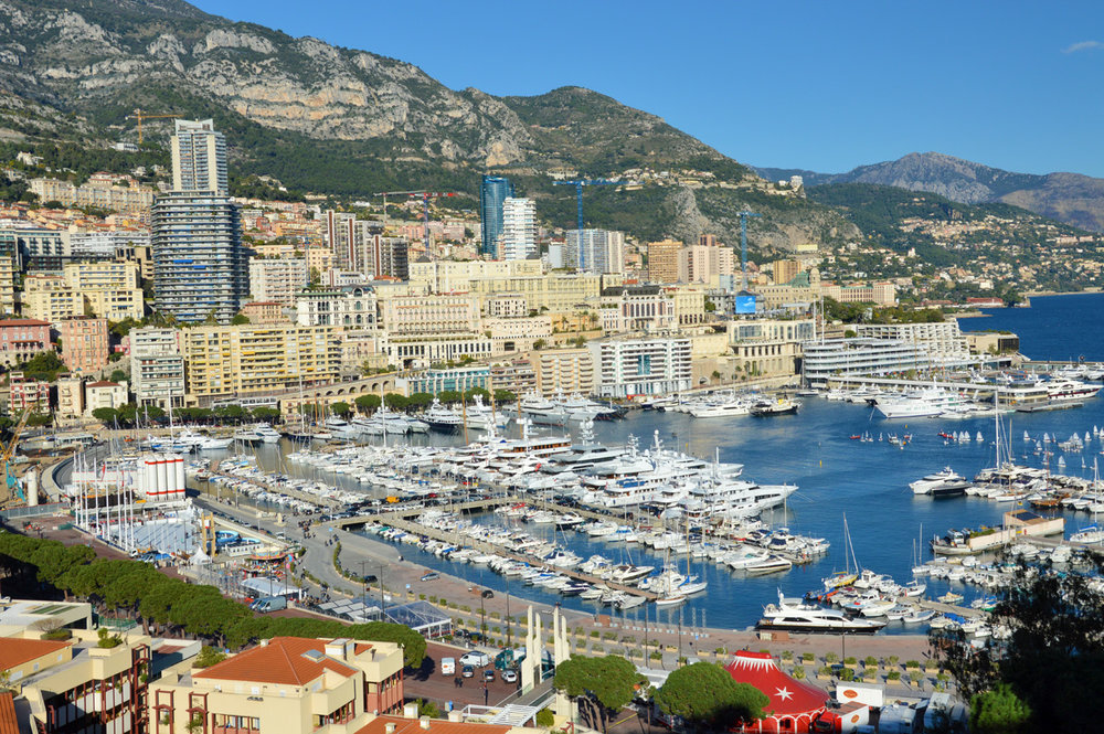 Monte Carlo and Port Hercule - view from Monaco-Ville