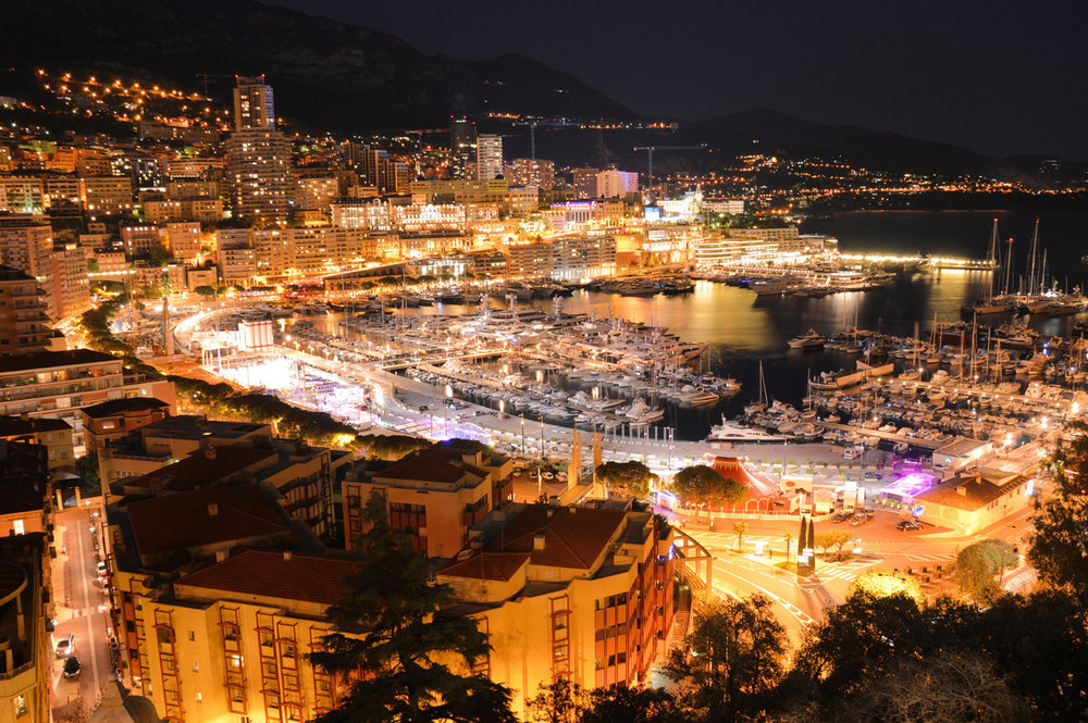 Port Hercule at night