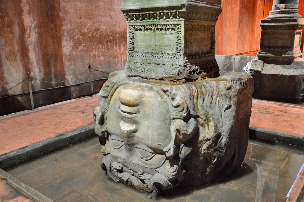 Medusa head in the Basilica Cistern