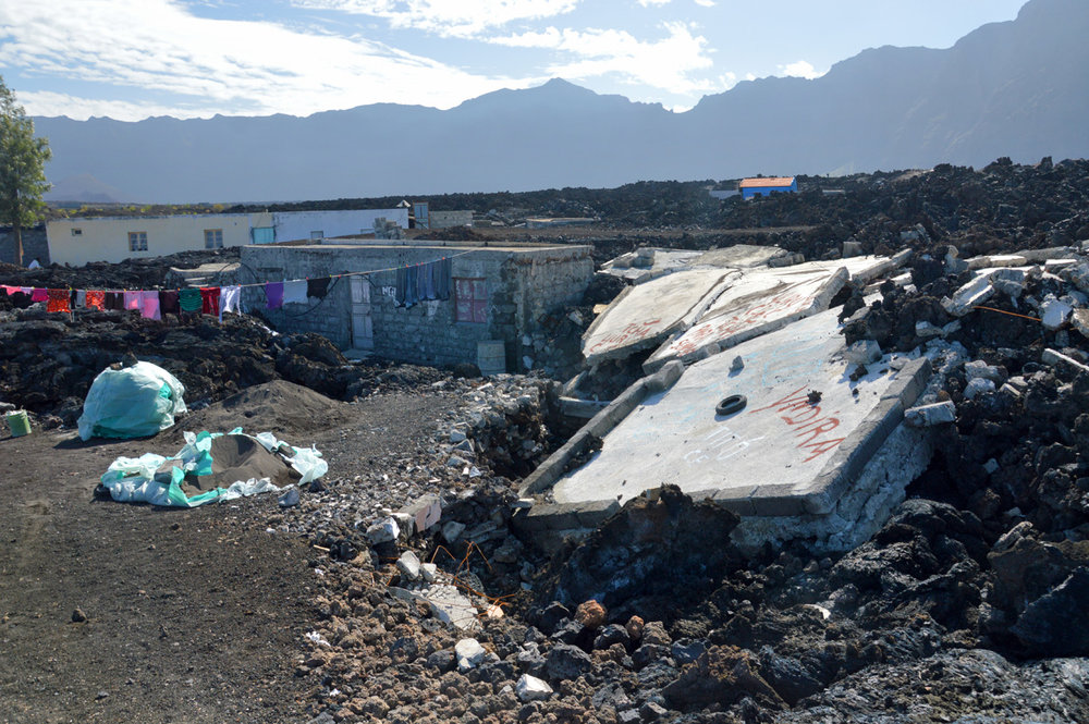 New houses among the lava field