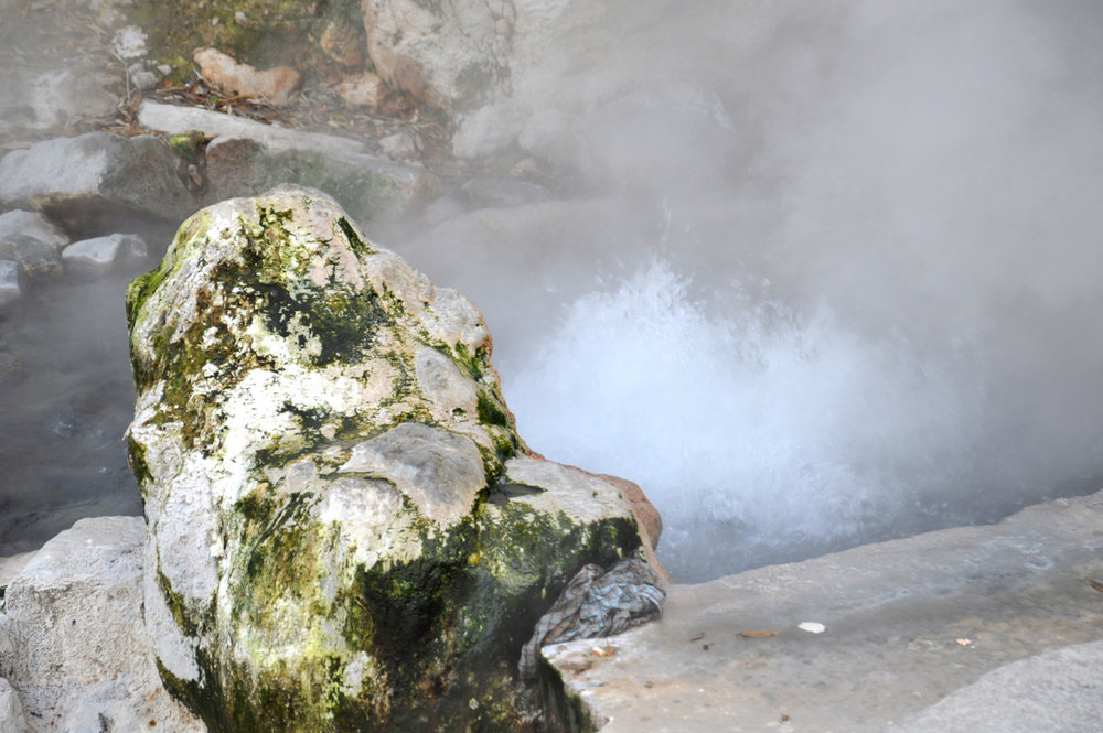 Boiling water in one of the hot springs
