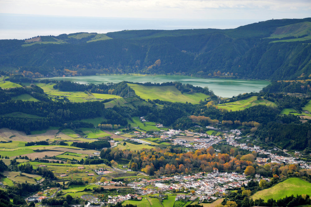 Beautiful view of Furnas village and the caldera in the background