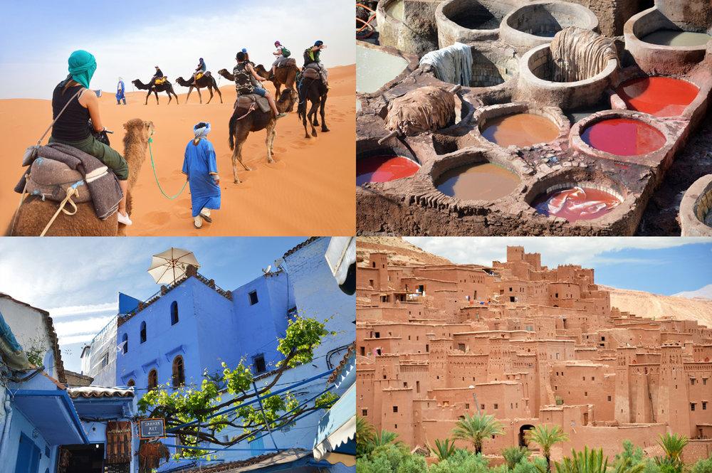 Morocco: Sahara, tanneries in Fez, blue town of Chefchaoeun, biblical town od Ait-Benhaddou