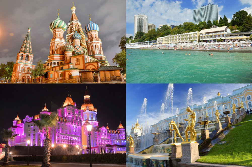 Russia: Saint Basil's Cathedral in Moscow, beach in Sochi, Sochi Theme Park and Peterhof Palace in St. Petersburg