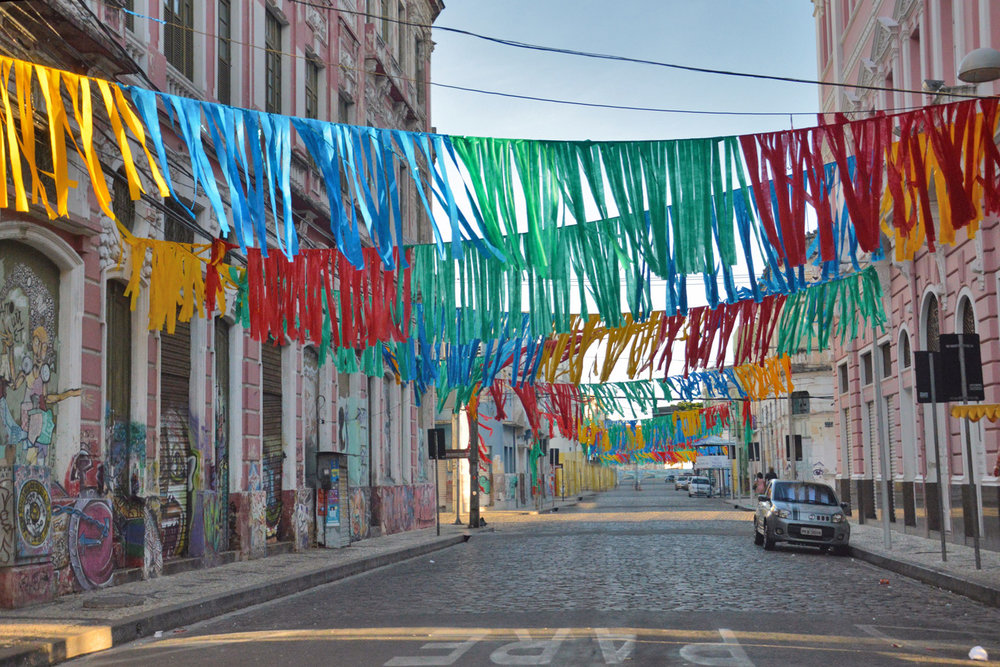 One of the colorfully decorated streets
