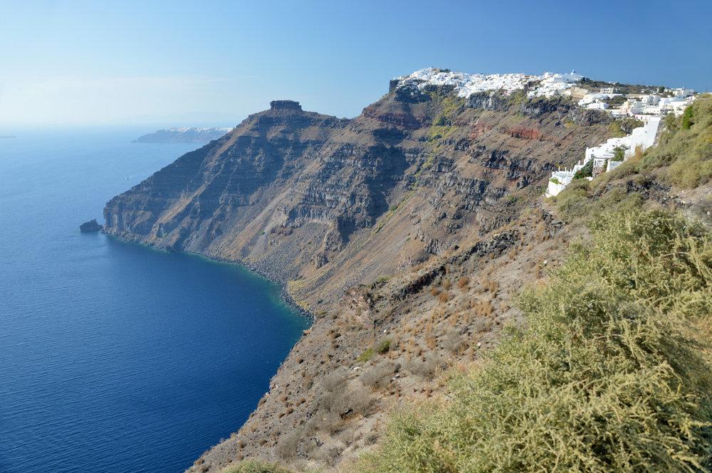 Black cliffs in Santorini